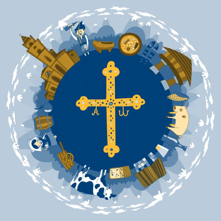 Asturias victory cross vector illustration