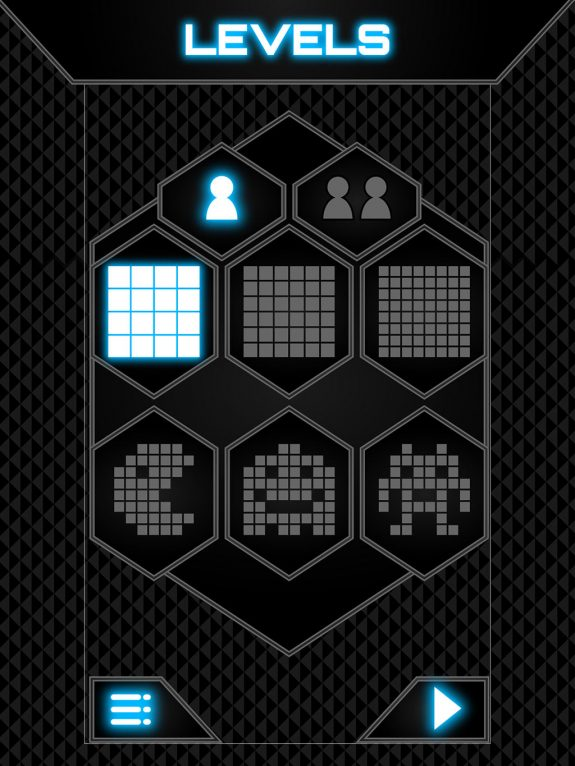 Dots and squares levels UI design (Graphic user interface)