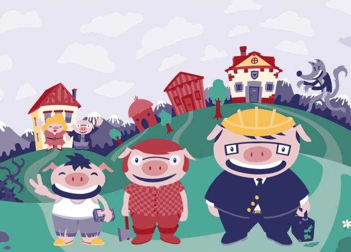 3 little pigs vector illustration for Wondertales children's book