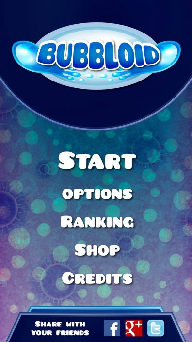 Bubbloid main menu design (Graphic user interface)