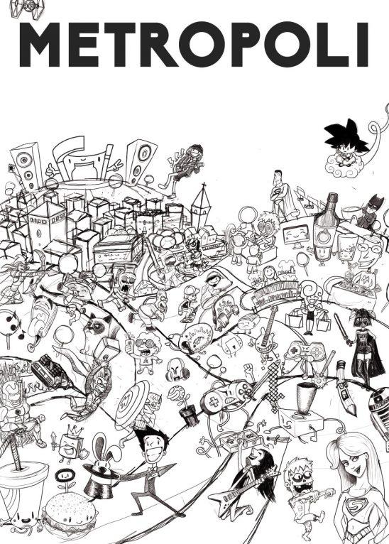 Sketch drawing for Metropoli poster illustration