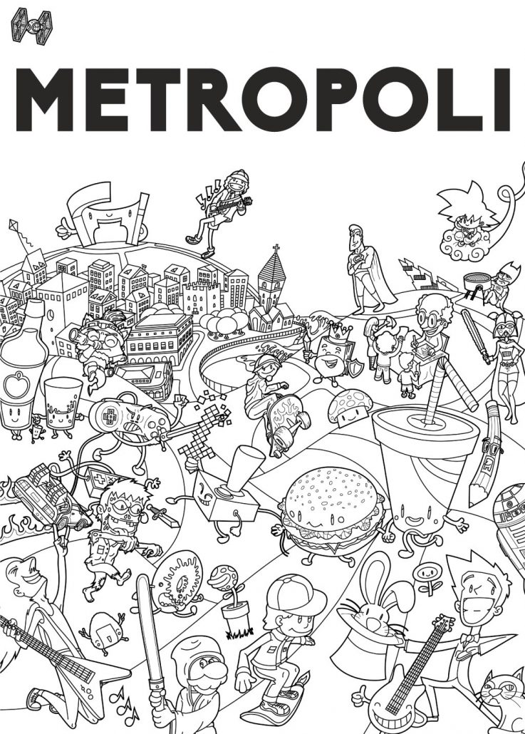 Line Art Posters : Poster vector illustration for metropoli gijón