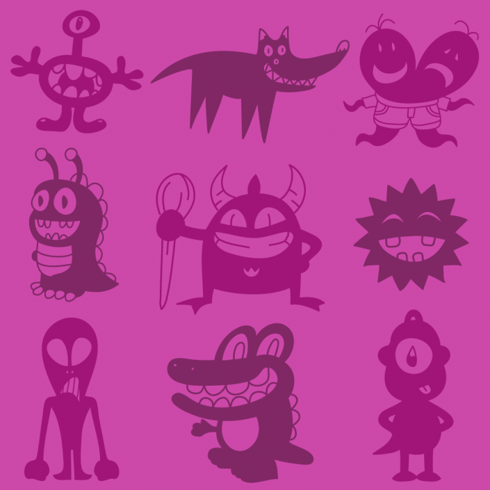 Vector cartoon monsters icon set design