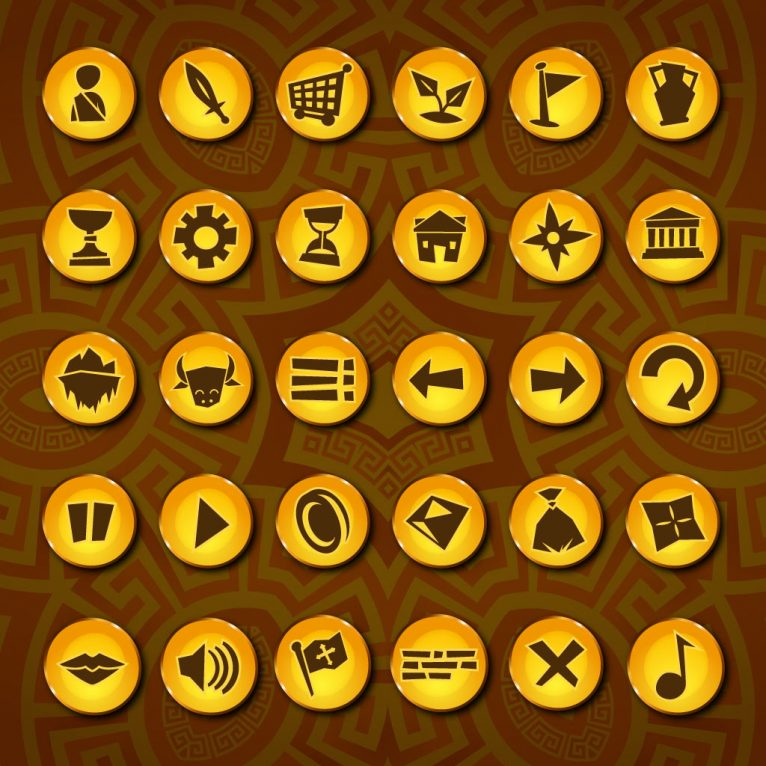 Vector ancient greek style icon set design