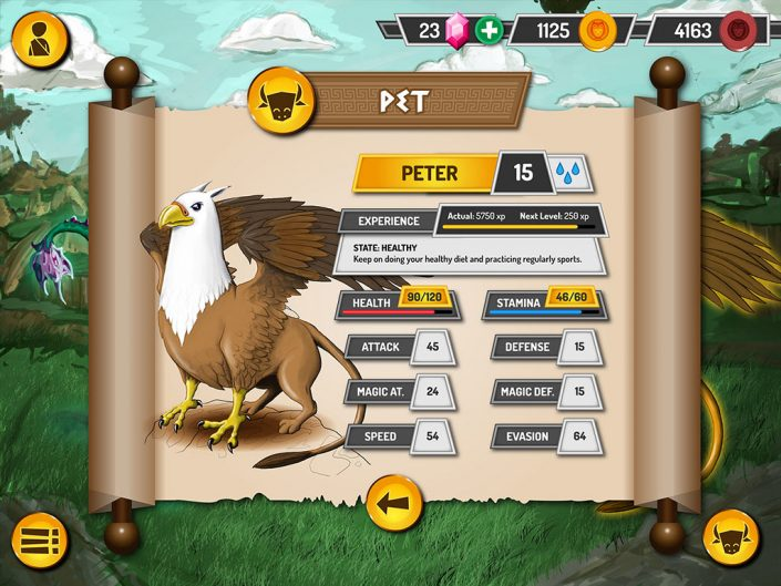 Mythonimals pet stats UI design (Graphic user interface)