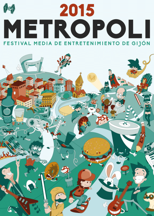 Gijon city cartoon vector digital illustration for Metropoli poster