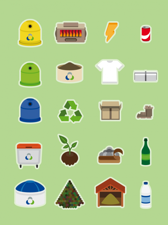 Vector icon set of recycling design elements
