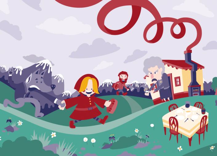 Little red riding hood vector illustration for Wondertales children's book