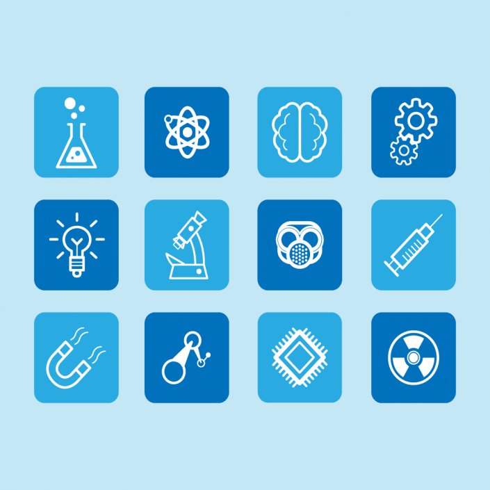Vector science and innovation icon set design