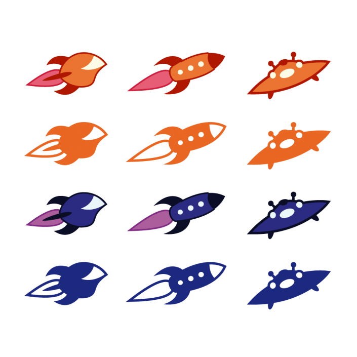 Vector spaceships ufo icon set design