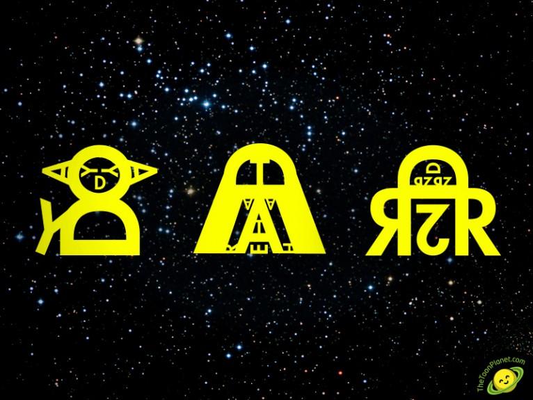 Star Wars caligrama tipografía personajes