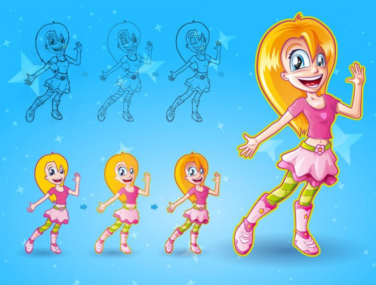 Vector girl cartoon character design steps