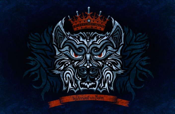 Stark direwolf vector illustration from Game of Thrones