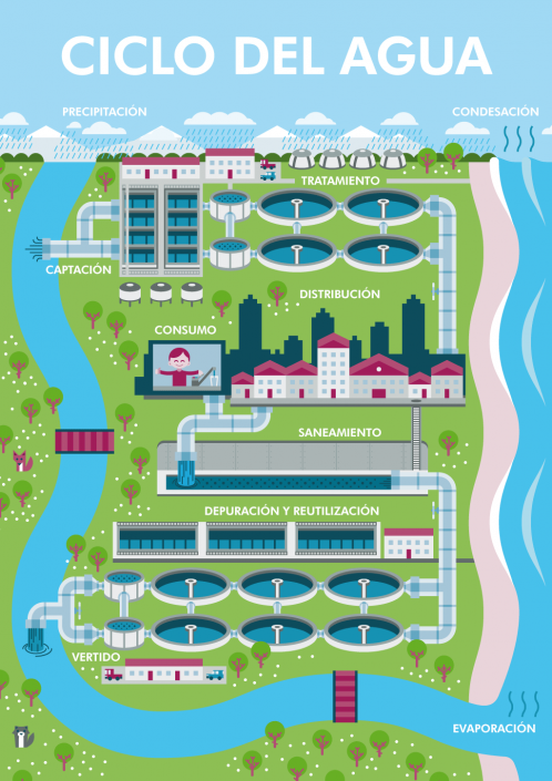 Water cycle vector infographic illustration
