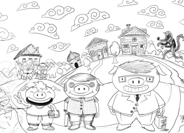 3 little pigs digital drawing sketch for Wondertales from Neverland