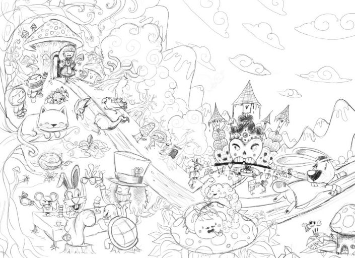 Alice in Wonderland digital drawing sketch