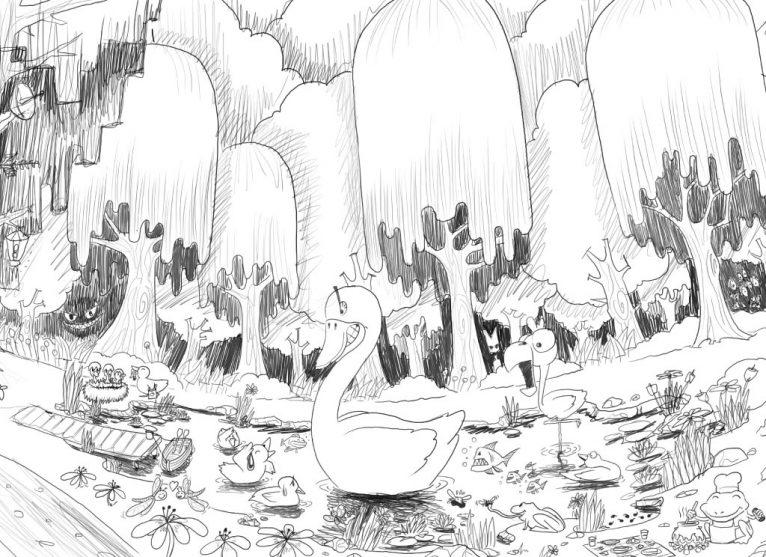 Ugly Duckling digital drawing sketch