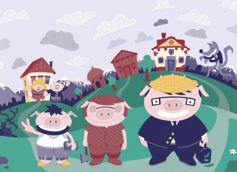 3 Little pigs digital vector illustration