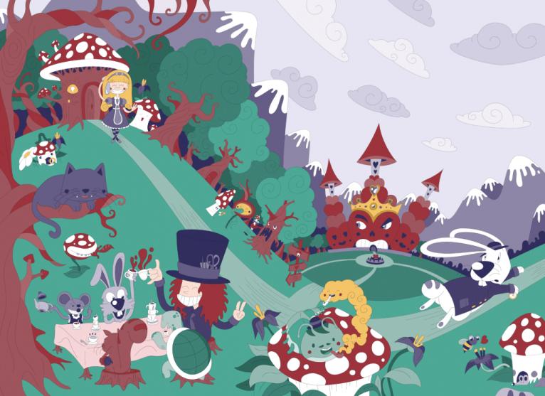 Alice in Wonderland digital vector illustration