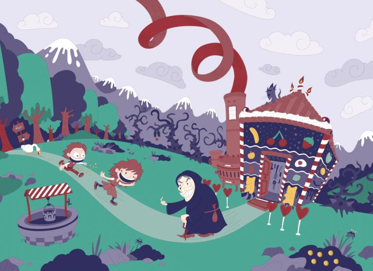 Hansel and Gretel digital vector illustration