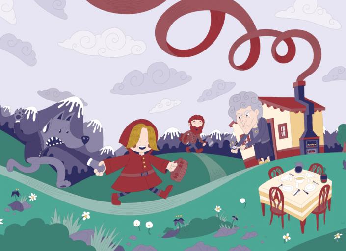 Little Red Riding Hood digital vector illustration