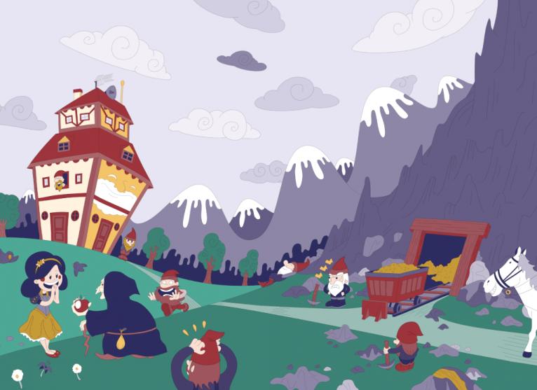Snow White digital vector illustration